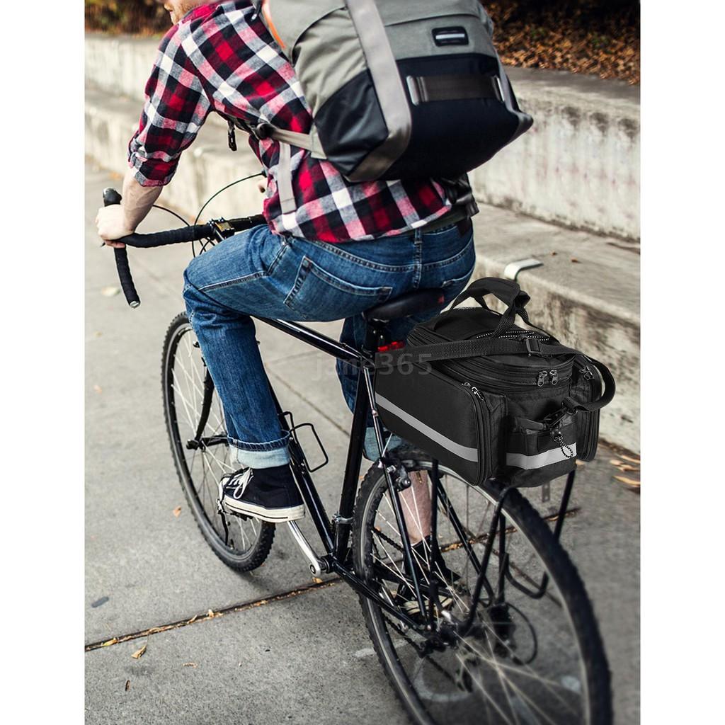 bicycle rear seat bag multifunction expandable waterproof mtb bicycle pannier bag bike rack bag with rain cover