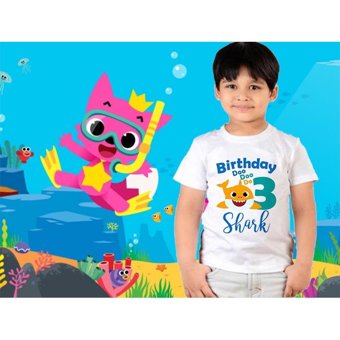 Baby Shark Birthday Shirt Boys Girls 1 3 Birthday T Shirts Baby Shark Do Do Do Cartoon Kids Tee Tops Shopee Singapore