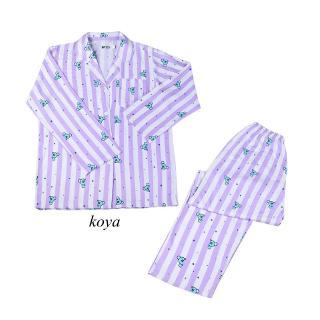 BT21周邊夏季薄款條紋睡衣套裝 卡通長袖睡衣 流行家居服 短袖短褲可愛女生睡衣套裝   蝦皮購物