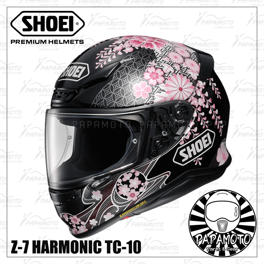 【趴趴騎士】SHOEI Z7 HARMONIC TC-10 黑 (全罩安全帽 附 Pinlock 防霧片 花彩 | 蝦皮購物