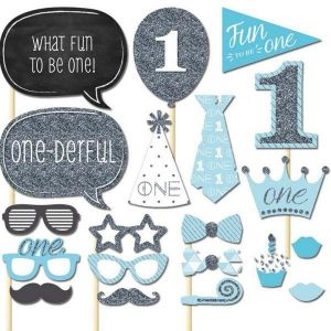 20pcs Set Blue 1st Birthday Boy Photo Booth Props On A Stick Diy Kits Photobooth Fun To Be One Party Decoration Favour Gifts Centerpieces Buy Online Party Supplies At Best Prices In