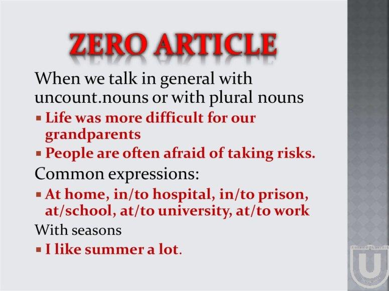 Indefinite article. Definite article - online presentation