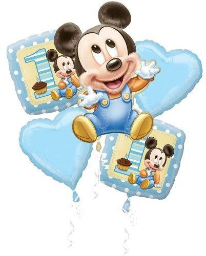 Balloons Baby Mickey Mouse 1st Birthday Balloon 5pc Bouquet Party Decoration Supplies Home Garden