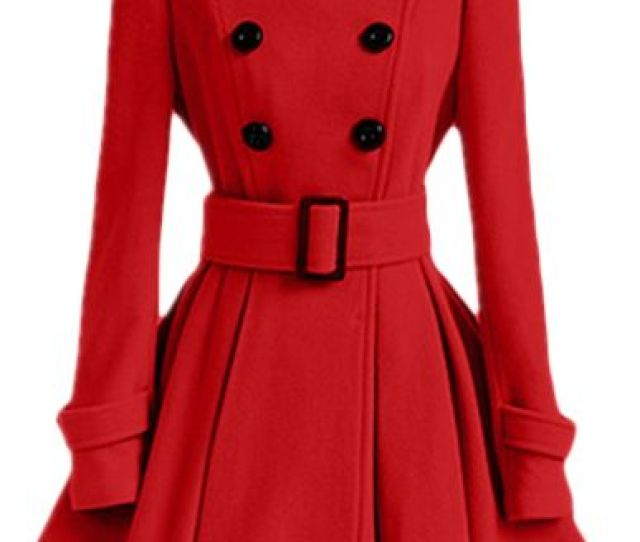 Autumn And Winter Ladies Coat Jacket With Belt Buckle Wind Coat Red