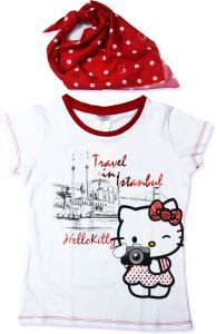 Hello Kitty Girls T Shirt White Short Sleeve With Scarf Iconic Three