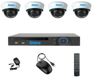 AHD 4 Channels DVR , 4 Indoor Security Cameras 2.4MP
