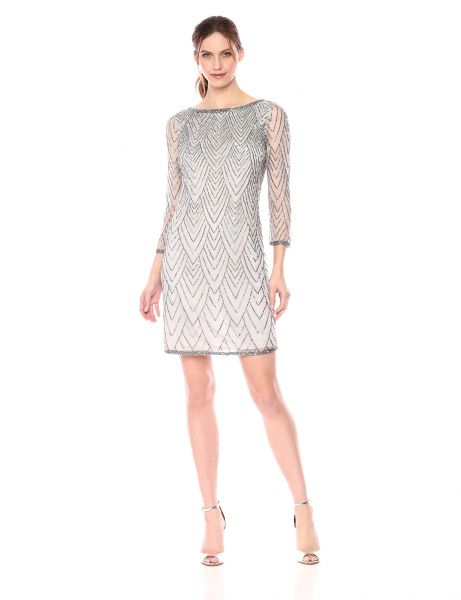 Buy J Kara Women s Short Cocktail With All Over Beaded Dress  Silver     J Kara Women s Short Cocktail With All Over Beaded Dress  Silver Mercury  10
