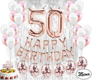 Birthday Party Decoration 50th Birthday Decorations Party Supplies 50 Cake Topper Banner Rose Gold Confetti Balloons Her Silver Curtain Backdrop Props Buy Online Party Supplies At Best Prices In Egypt Souq Com
