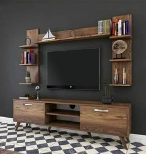 design tv table built with two side shelf and top shelf