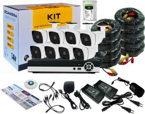 8Channel AHD CCTV Kit 1080P/2.0MP 1920X1080 Camera 8CH Kit with 1TB Hardisk and Hybrid 5in1 1080N DVR Security Recording System and 8pcs Sony Sensor Metal Outdoor Bullet Camera Alarm System&P2P Clouds Home Security