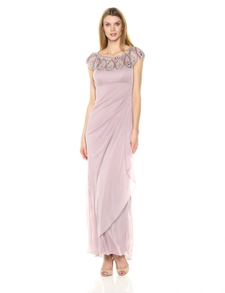Souq   Xscape Women s Beaded Off The Sholder Dress  Mauve  16   Kuwait This item is currently out of stock