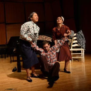 """Daniella Coradini '17 (left) starred as the Old Maid in the Sinatra Opera Workshop production of """"Old Maid and the Thief."""""""