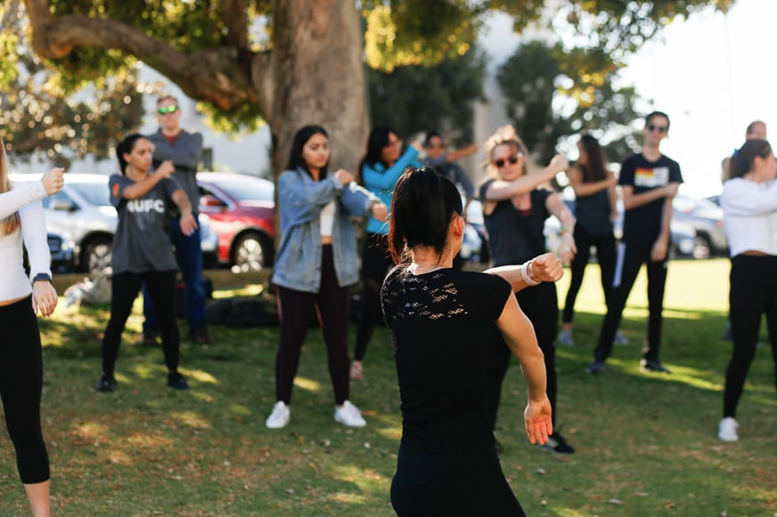 Tai Chi 5 - Students Practice Tai Chi on the Bluff to Find Balance