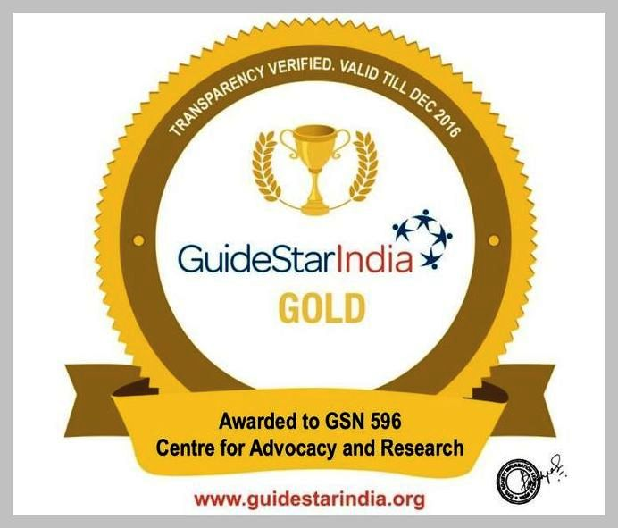 In 2016, CFAR received Gold Cetrificate from GuideStar India