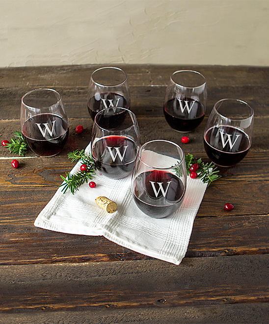Cathy's Concepts Stemless Wine Glasses - Set of Six