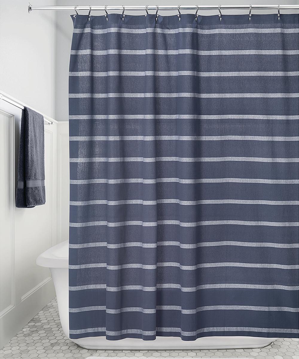 Idesign Navy White Stripe Shower Curtain