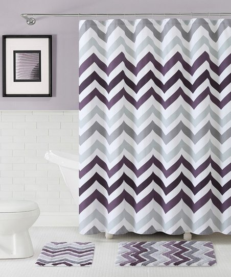 vcny home purple corso chevron shower curtain bath rug set
