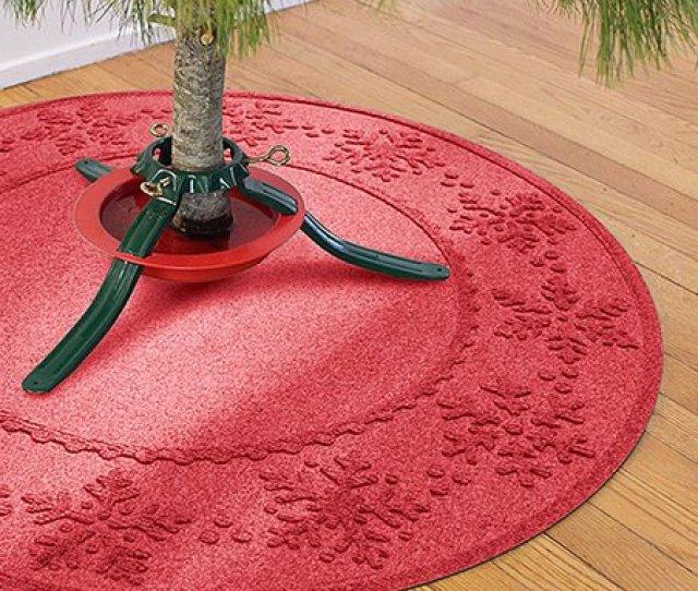 Red Snowflakes Aqua Shield Christmas Tree Mat
