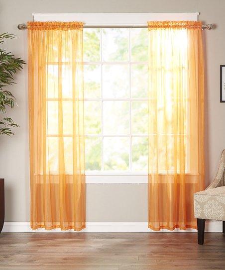 elegance linen orange derin sheer curtain panel set of two