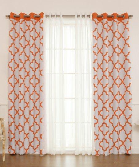 best home fashion orange lattice sheer 4 pc blackout curtain panel set