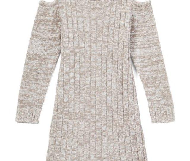 Gray Twist Embellished Cold Shoulder Sweater Dress Girls