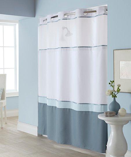 sure fit blue windsor color block hookless shower curtain