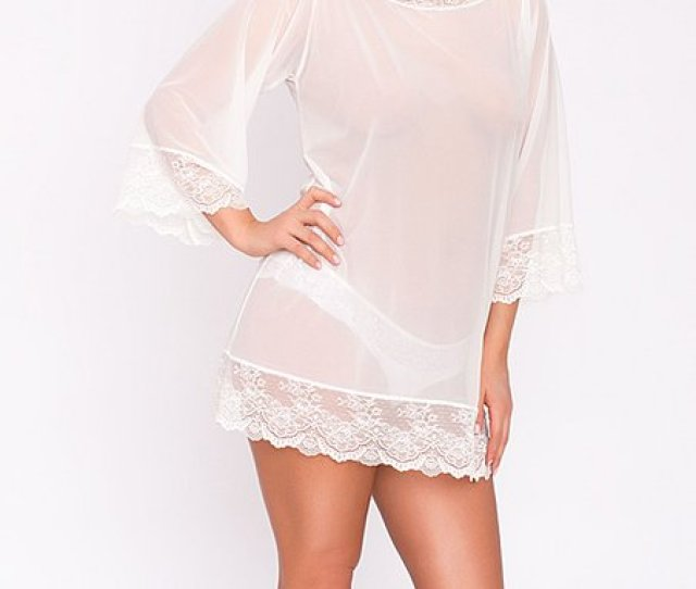 Off White Bell Sleeve Lace Accent Eva Semi Sheer Nightgown