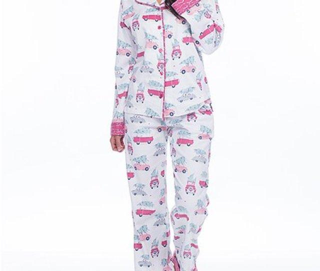White Christmas Tree Car Flannel Pajama Set Women