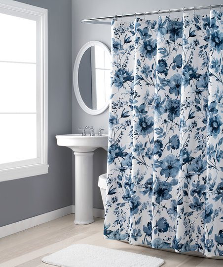 nicole miller blue flower shower curtain