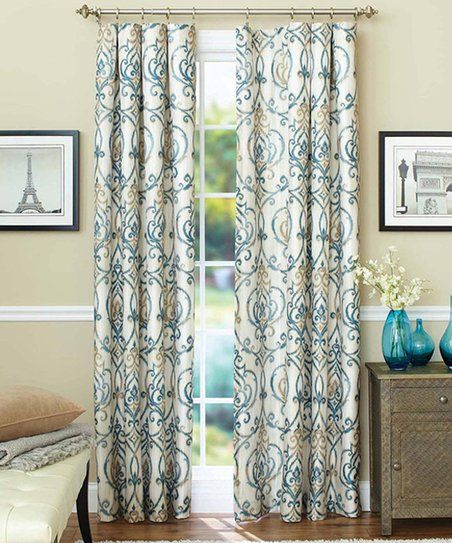 goodgram yellow blue damask thermal curtain panel set of two