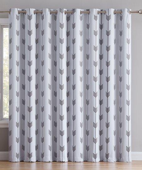 hlc me platinum white arrow extra wide blackout curtain panel