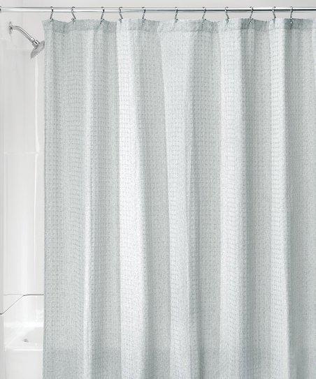 idesign heather spa blue waffle shower curtain