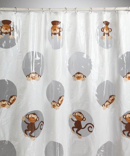 saturday knight peeking monkey shower curtain