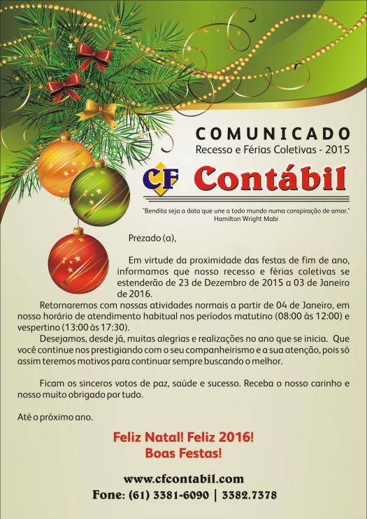 Comunicado ~ Recesso 2015