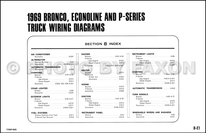 1969 ford bronco econoline and pseries wiring diagrams