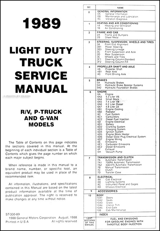 89 chevy blazer repair manual