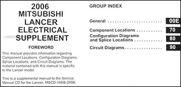 2006 mitsubishi lancer wiring diagram manual original
