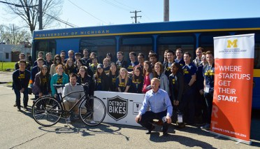 DTrek students after meeting with Zak Pashak and Chris Kiesling of Detroit Bikes