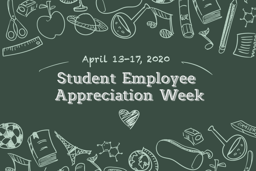 Student Employee Appreciation Week Written in chalk on a chalkboard