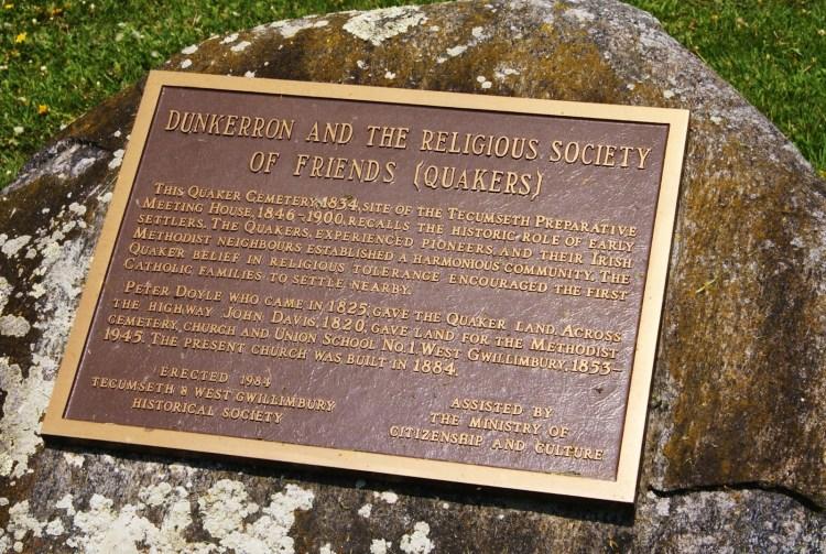 Plaque of the Dunkerron Quaker cemetery.