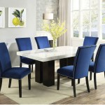 Cam White Marble Dining Room Set With 6 Blue Chairs Nader S Furniture