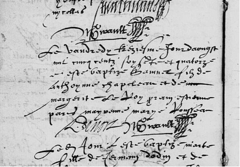 Acte de baptême de Samuel Chapeleau tiré de Wikipedia