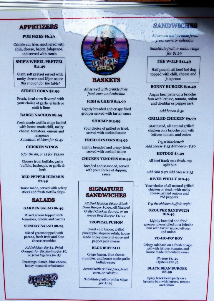 Anne Bonnie's Bar & Grill menu