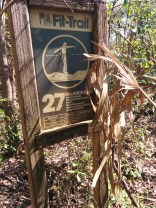 This long-forgotten sign, erected in 1978, stands in the woods near the M2 building.