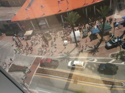 Flocks of visitors swarm the Jacksonville Landing, as viewed from the sixth floor of SunTrust Tower.