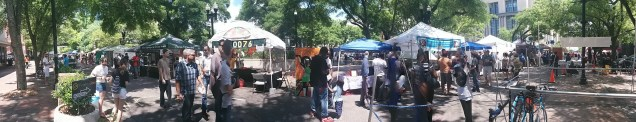 A panoramic view of Hemming Plaza during OneSpark just past noon.