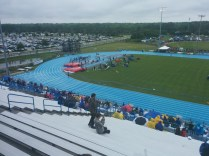 Stormy weather looms as the state high school track meet continues at Hodges Stadium.