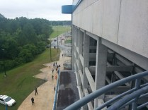 Be prepared - if you dare to enter the Hodges Stadium press box, you'll have to be ready to climb six flights of stairs. Actual journalists who work here have to climb up and down these stairs whenever they go down to the field to interview participants.