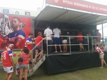Fans formed a long line at the merchandise zone outside EverBank Field for jerseys, scarves, and more U.S. soccer gear.