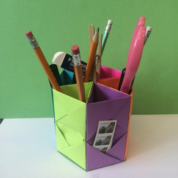 Hexagonal Origami Pen Holder